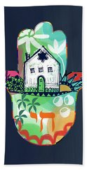 Hand Towel featuring the mixed media Colorful Home Hamsa- Art By Linda Woods by Linda Woods