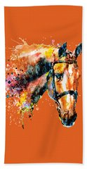 Bath Towel featuring the mixed media Colorful Horse Head by Marian Voicu