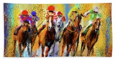 Colorful Horse Racing Impressionist Paintings Hand Towel