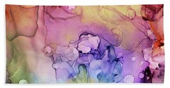 Colorful Ink Swirls With Gold Marble Bath Towel
