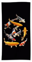 Colorful Japanese Koi Vertical Hand Towel
