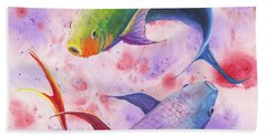 Colorful Koi Hand Towel by Darice Machel McGuire
