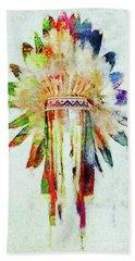 Colorful Lakota Sioux Headdress Hand Towel