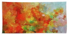 Hand Towel featuring the painting Colorful Landscape Art In Abstract Style by Ayse Deniz