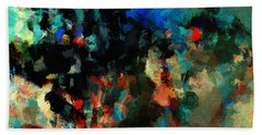Hand Towel featuring the painting Colorful Landscape / Cityscape Abstract Painting by Ayse Deniz