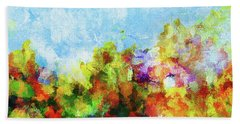 Hand Towel featuring the painting Colorful Landscape Painting In Abstract Style by Ayse Deniz