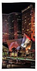 Colorful Las Vegas Evening Street Scene Hand Towel by Walt Foegelle