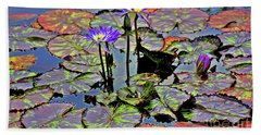 Bath Towel featuring the photograph Colorful Lily Pads by Patti Whitten