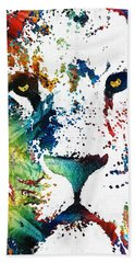 Colorful Lion Art By Sharon Cummings Hand Towel