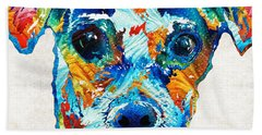 Colorful Little Dog Pop Art By Sharon Cummings Hand Towel