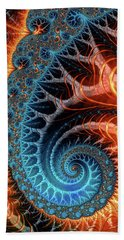 Colorful Luxe Fractal Spiral Turquoise Brown Orange Bath Towel by Matthias Hauser