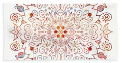 Colorful Mandala On Watercolor Paper Hand Towel