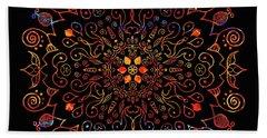 Colorful Mandala With Black Bath Towel