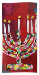 Colorful Menorah- Art By Linda Woods Bath Towel