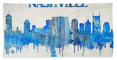 Colorful Nashville Skyline Silhouette Hand Towel by Dan Sproul