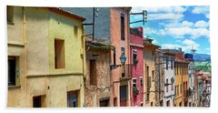 Colorful Old Houses In Tarragona Hand Towel