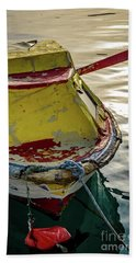 Colorful Old Red And Yellow Boat During Golden Hour In Croatia Hand Towel