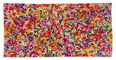 Hand Towel featuring the painting Colorful Organza by Natalie Holland