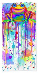 Bath Towel featuring the painting Colorful Painted Frog  by Nick Gustafson