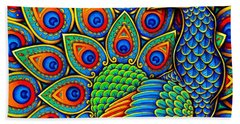 Colorful Paisley Peacock Hand Towel