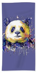 Hand Towel featuring the mixed media Colorful Panda Head by Marian Voicu