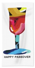 Bath Towel featuring the mixed media Colorful Passover Goblet- Art By Linda Woods by Linda Woods
