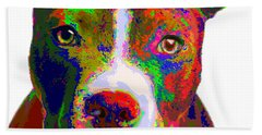 Colorful Pit Bull Terrier  Hand Towel