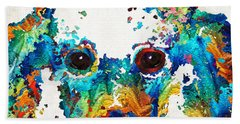 Colorful Poodle Dog Art By Sharon Cummings Hand Towel