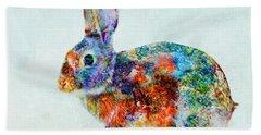 Colorful Rabbit Art Hand Towel by Olga Hamilton