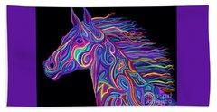 Colorful Rainbow Stallion  Hand Towel