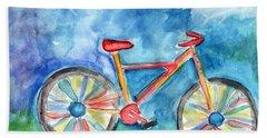 Colorful Ride- Bike Art By Linda Woods Bath Towel
