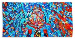 Bath Towel featuring the painting Colorful Rockefeller Center Atlas by Dan Sproul