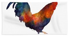 Colorful Rooster Hand Towel by Hailey E Herrera