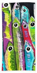 Colorful Sardines Bath Towel by Scott D Van Osdol