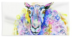 Bath Towel featuring the painting Colorful Sheep by Zaira Dzhaubaeva