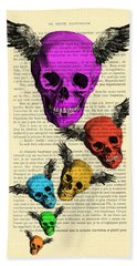 Colorful Rainbow Skull With Wings Illustration On Book Page Bath Towel