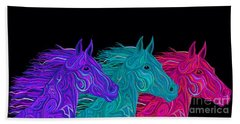 Bath Towel featuring the drawing Colorful Stallions  by Nick Gustafson
