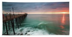 Colorful Sunset At The Oceanside Pier Hand Towel