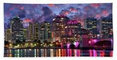 Colorful Sunset Over Downtown West Palm Beach Florida Hand Towel