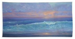 Cape Cod Colorful Sunset Seascape Beach Painting With Wave Hand Towel