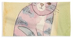 Bath Towel featuring the painting Colorful Tabby by Terry Taylor
