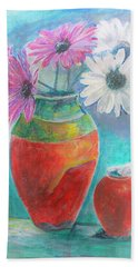 Colorful Vases And Flowers Hand Towel
