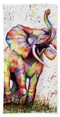 Bath Towel featuring the painting Colorful Watercolor Elephant by Georgeta Blanaru