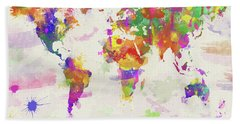Colorful Watercolor World Map Bath Towel