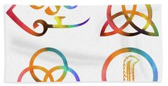 Colorful Zoso Symbols Hand Towel
