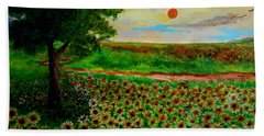 Sunflowers In Sunset Bath Towel