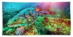 Hand Towel featuring the photograph Colors Of The Sea In Lights by Debra and Dave Vanderlaan