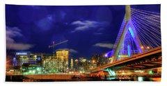 Hand Towel featuring the photograph Colors Of The Zakim Bridge - Boston, Ma by Joann Vitali