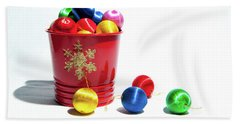 Coloured Baubles In A Pot Hand Towel