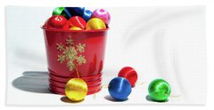 Coloured Baubles In A Pot Bath Towel